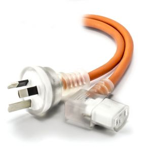 Alogic 2m Medical Power Cable Aus 3 Pin Mains Plug to Right Angle IEC C13 Orange
