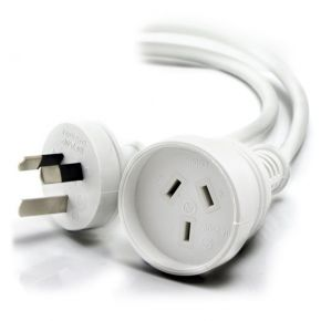 Alogic 2m Aus 3 Pin Mains Power Extension Cable WHITE Male to Female MF-PEXT-02