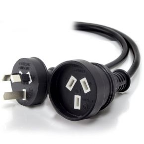 Alogic 3m Aus 3 Pin Mains Power Extension Cable BLACK Male to Female MF-PEXT-03-BLK