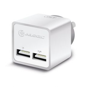 Alogic 2 Port USB Mini Wall Charger 2.4A/1A 17W AU Travel Wall Charger White
