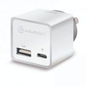 Alogic 2 Port Mini Wall Charger AU 5V 3A/2.4A 17W USB Type-C & Type-A Port White