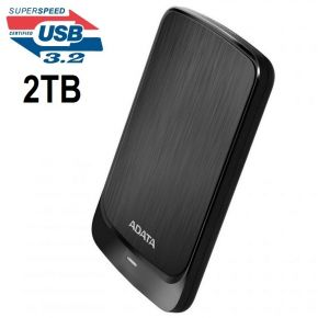 Adata HV320 2TB Slim External Hard Drive HDD Shock Protection USB 3.2 Gen1 Black