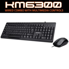 Gigabyte KM6300 USB Wired Keyboard & Mouse Combo Multimedia Controls 1000dpi
