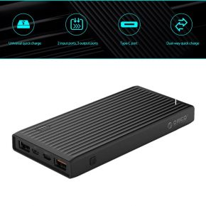 Orico K10000 10000mAh USB-A & Type-C & Micro B QC3.0 Smart Power Bank - Black
