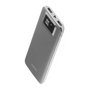 Xipin 11000mAh Power Bank 5V2A Dual USB Output Powerbank Grey Leather Textured Housing and LED Display S12