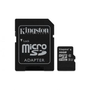 Kingston 16GB microSDHC Canvas Select 80R CL10 UHS-I Card + SD Adapter SDCS/16GB