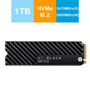 Western Digital WD 1TB Black SN750 NVMe SSD M.2. 2280 with Heatsink PCIe Gen 3