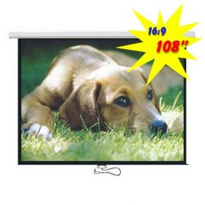 "Brateck Projector Standard Auto-lock Manual Projection Screen - 108"" 16:9 Ratio"