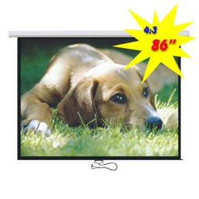 "Brateck Standard Auto-lock Manual Projector Projection Screen - 86"", 4:3 Ratio"