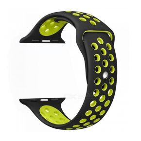 NewBee Sports Silicone Bracelet Strap Band For Apple Watch iWatch 38mm Black/Yellow