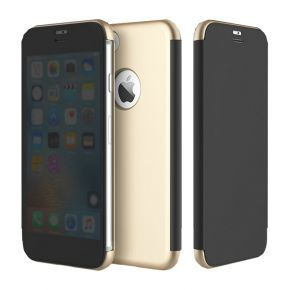[iPhone 7 Plus] ROCK Dr.Vision Clear View Smart Case Flip Cover Protective Case [Gold,Iphone 7 Plus]