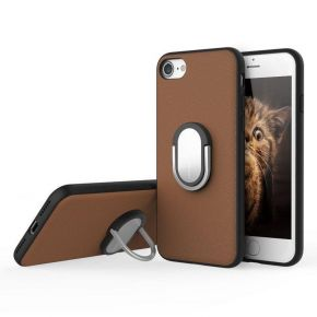 [Brown,IPHONE 7 PLUS] Genuine Rock Kickstand Magnetic Suction Ring Holder Case M1