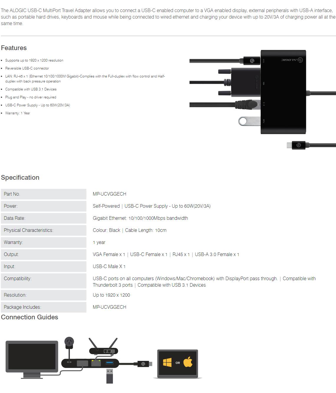 Alogic USB-C Multiport Adapter with VGA/USB-A/Gigabit Ethernet/USB-C MP-UCVGGECH