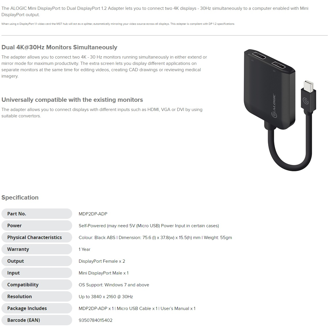 Alogic Mini DisplayPort to Dual DisplayPort 1.2 Adapter - 4K - 30 Hz MDP2DP-ADP