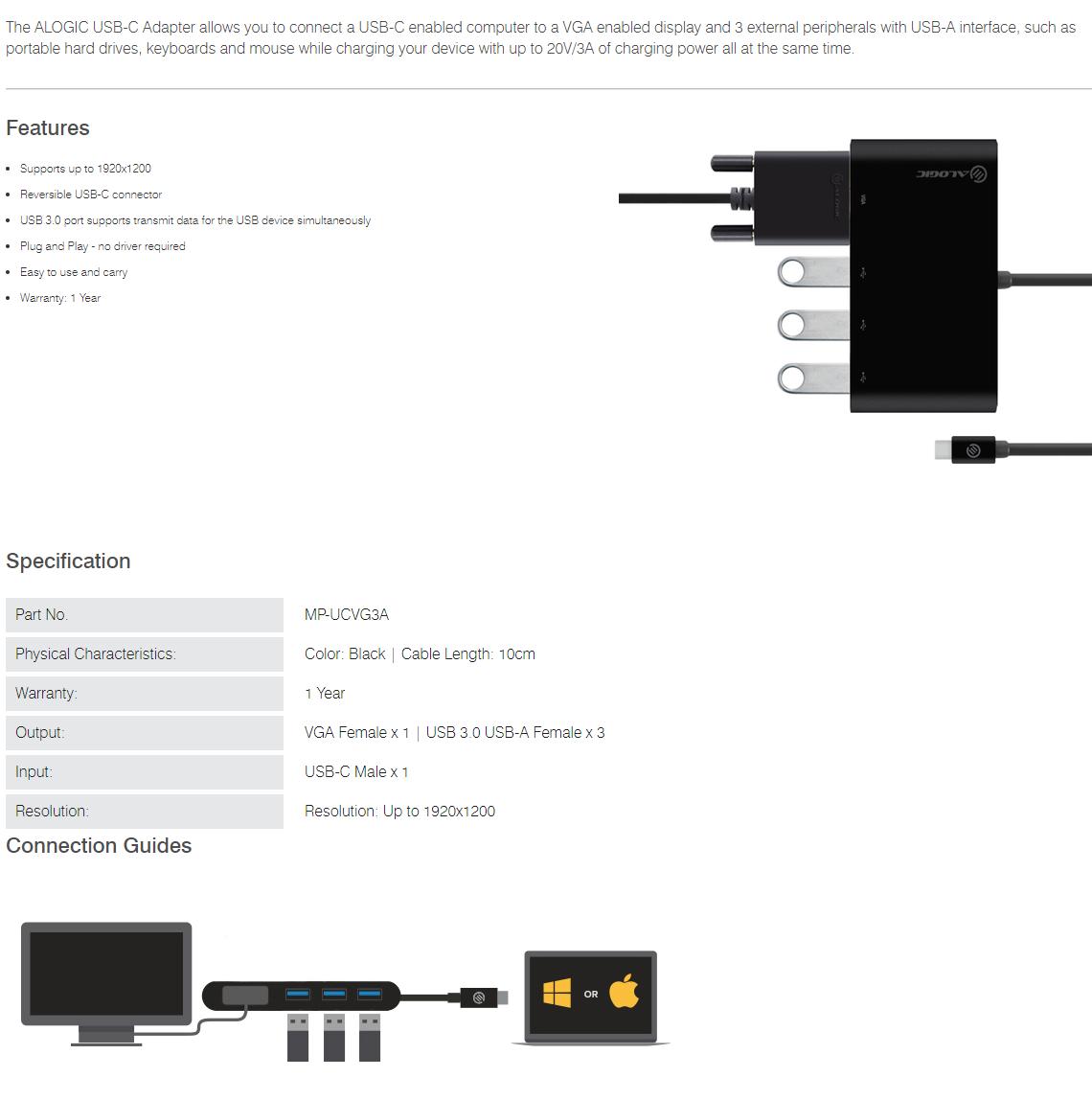 Alogic 10cm USB-C MultiPort Adapter with VGA & 3 Port USB 3.0 Hub MP-UCVG3A