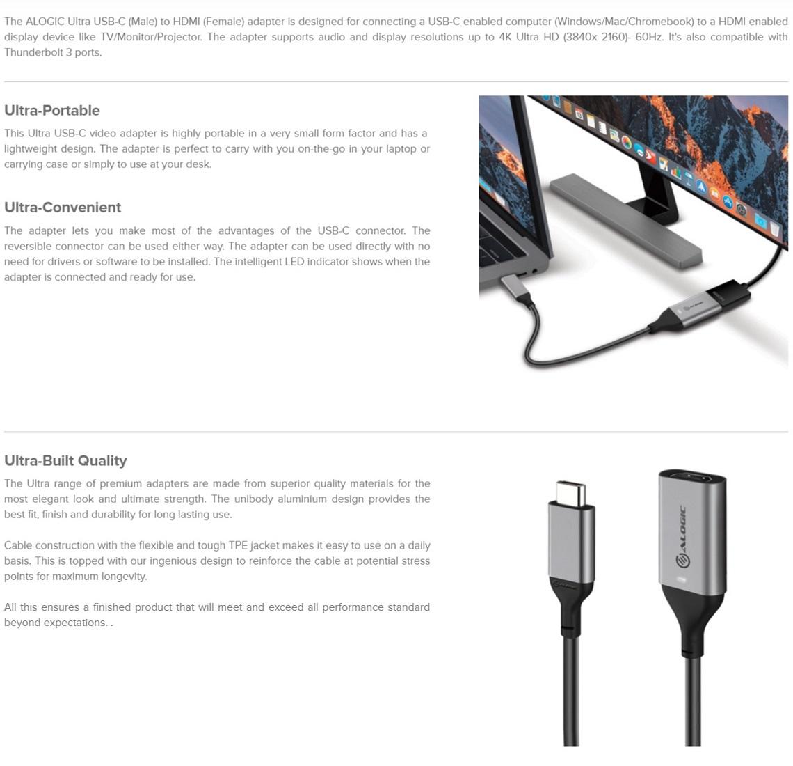 Alogic 15cm Ultra USB-C (Male) to HDMI (Female) Adapter 4K @60Hz Ultra-Portable
