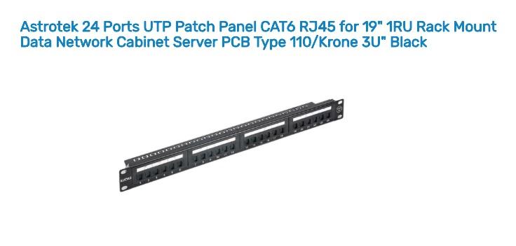 Astrotek 24 Ports UTP Patch Panel CAT6 RJ45 for 19' 1RU Rack Mount Data Network Cabinet Server PCB Type 110/Krone 3U' Black