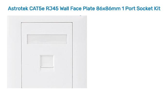 Astrotek CAT5e RJ45 Wall Face Plate 86 x 86mm 1 Port Socket Kit ATP-SC-5E-1