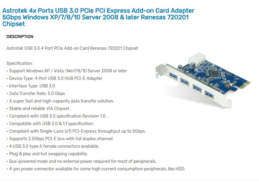 Astrotek 4 Ports USB 3.0 Hub PCIe PCI Express Add-on Card Adapter 5Gbps