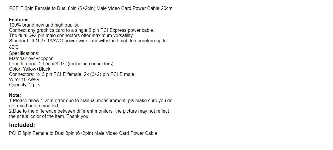 GPU Graphics Card Power Cable PCI-E PCIE 6p Female to 2 Port Dual 8pin 6+2p Male