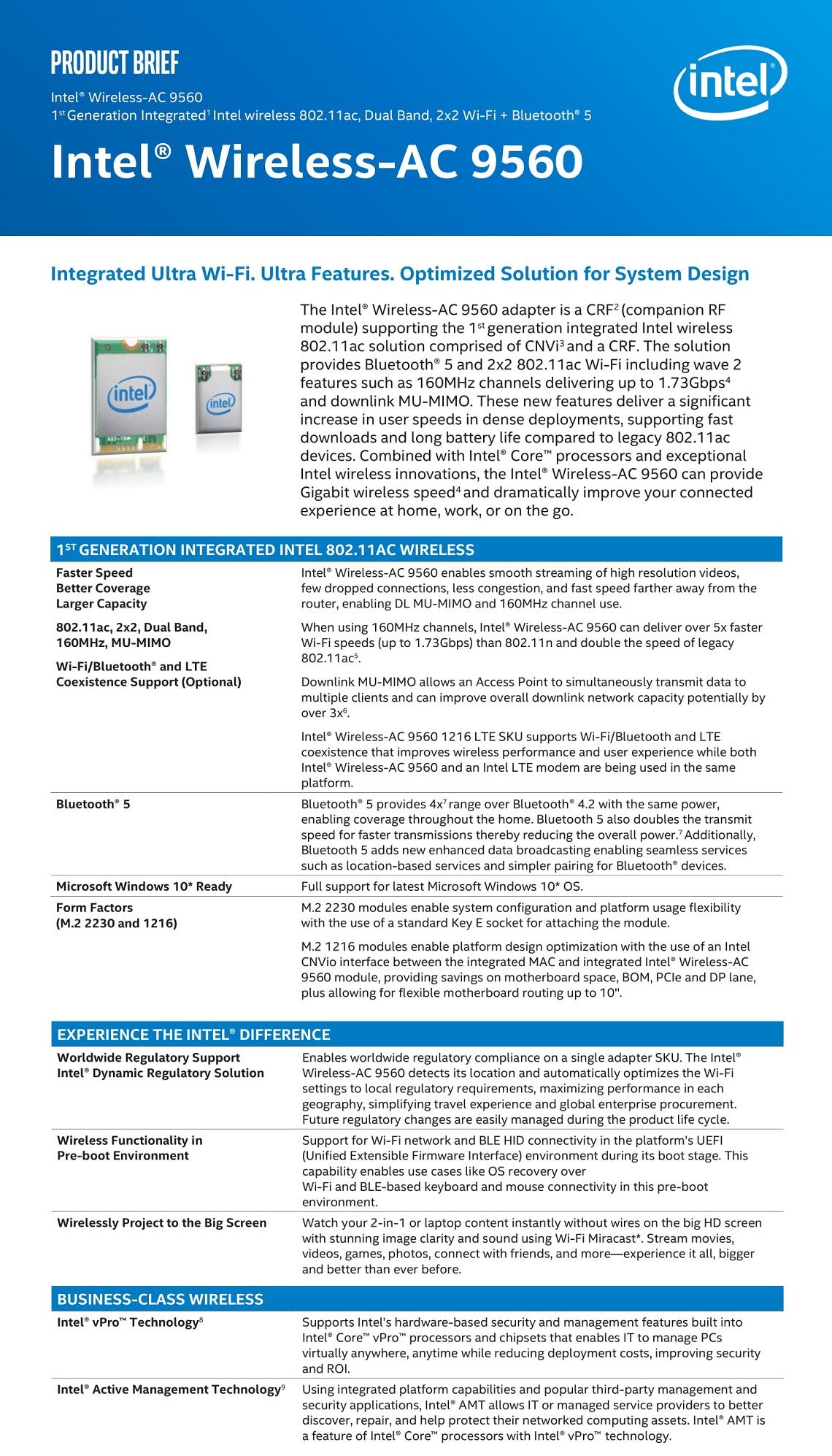 Details about Intel 9560 Dual Band Wireless AC M 2 2230 WiFi Bluetooth  Gigabit Adapter No vPro