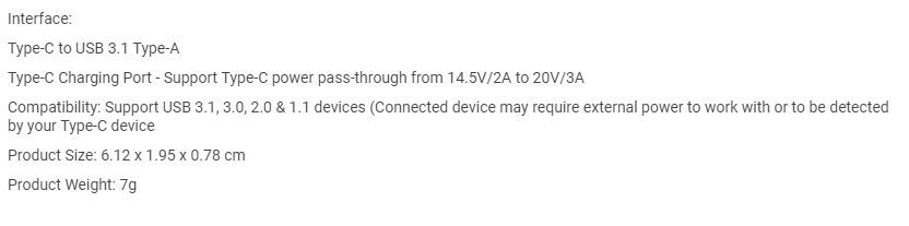 mbeat Attache Dual Port Male USB-C Adaptor to USB 3.1 for MacBook/Chromebook