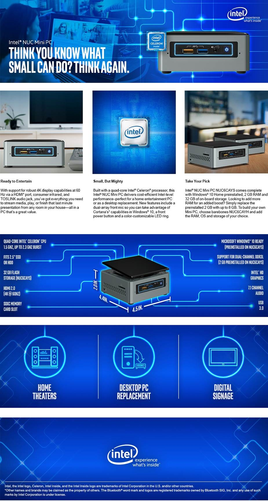 Intel NUC BOXNUC6CAYH Barebone Systems Mini PC