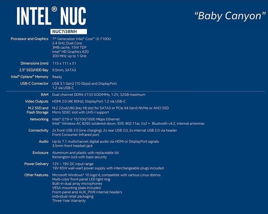 Intel NUC Kit NUC7I3BNH Mini PC Barebone Desktop PC 7th Gen I3 M.2 Usb TypeC