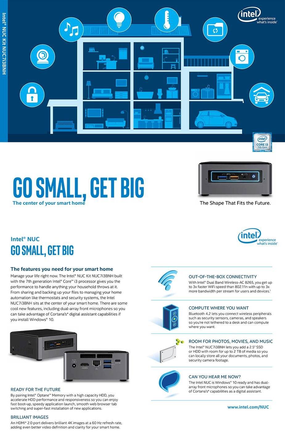 Intel NUC7I3BNK BGA 1356 2.40GHz i3-7100U Black Grey