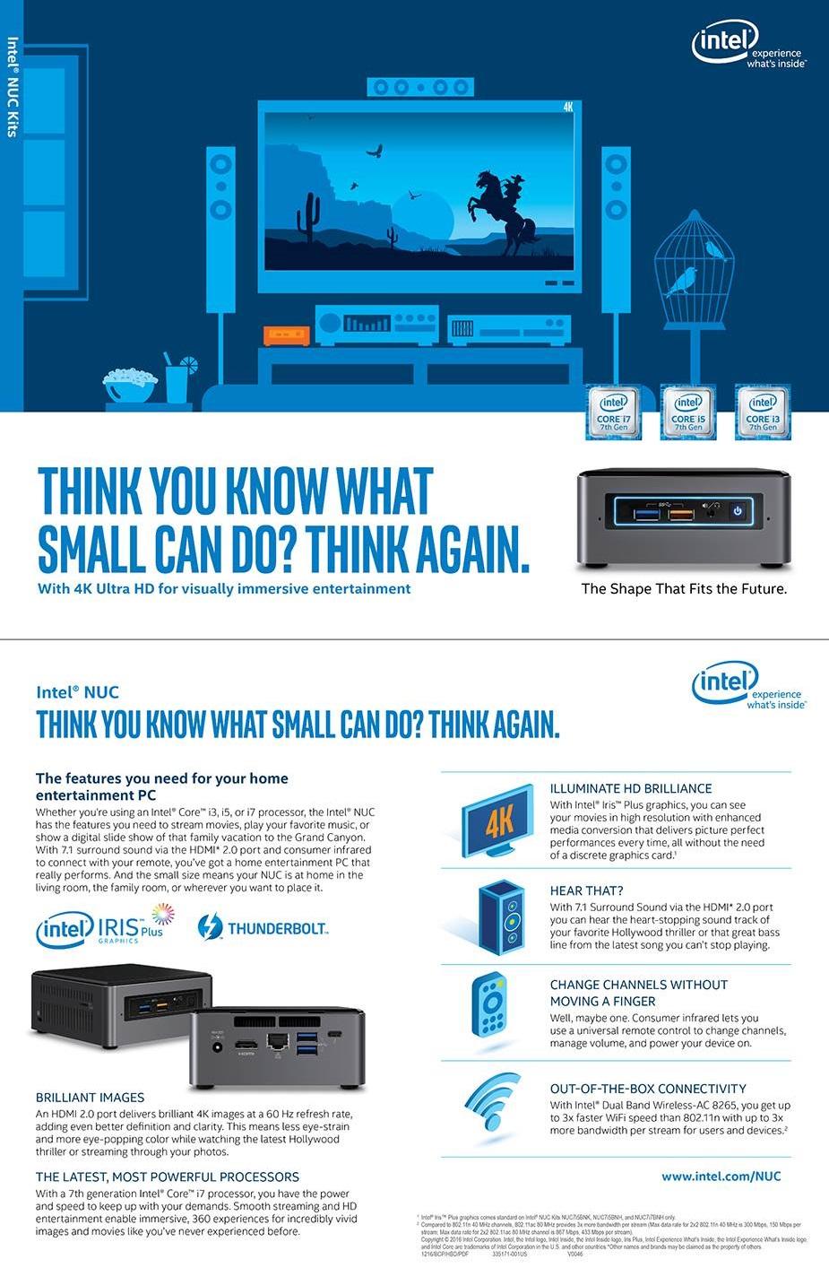 Intel NUC Kit NUC7I5BNH Mini Computer Desktop PC Barebone Core i5 M.2 USB Type C