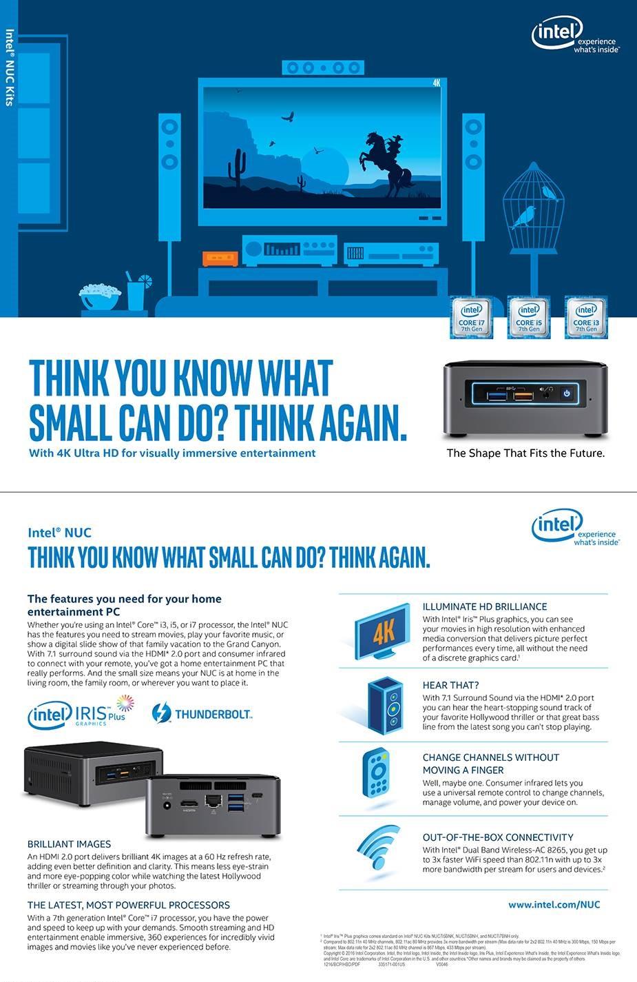 Intel NUC Kit NUC7I7BNH Mini Computer Desktop PC Barebone Core i7 M.2 USB Type C