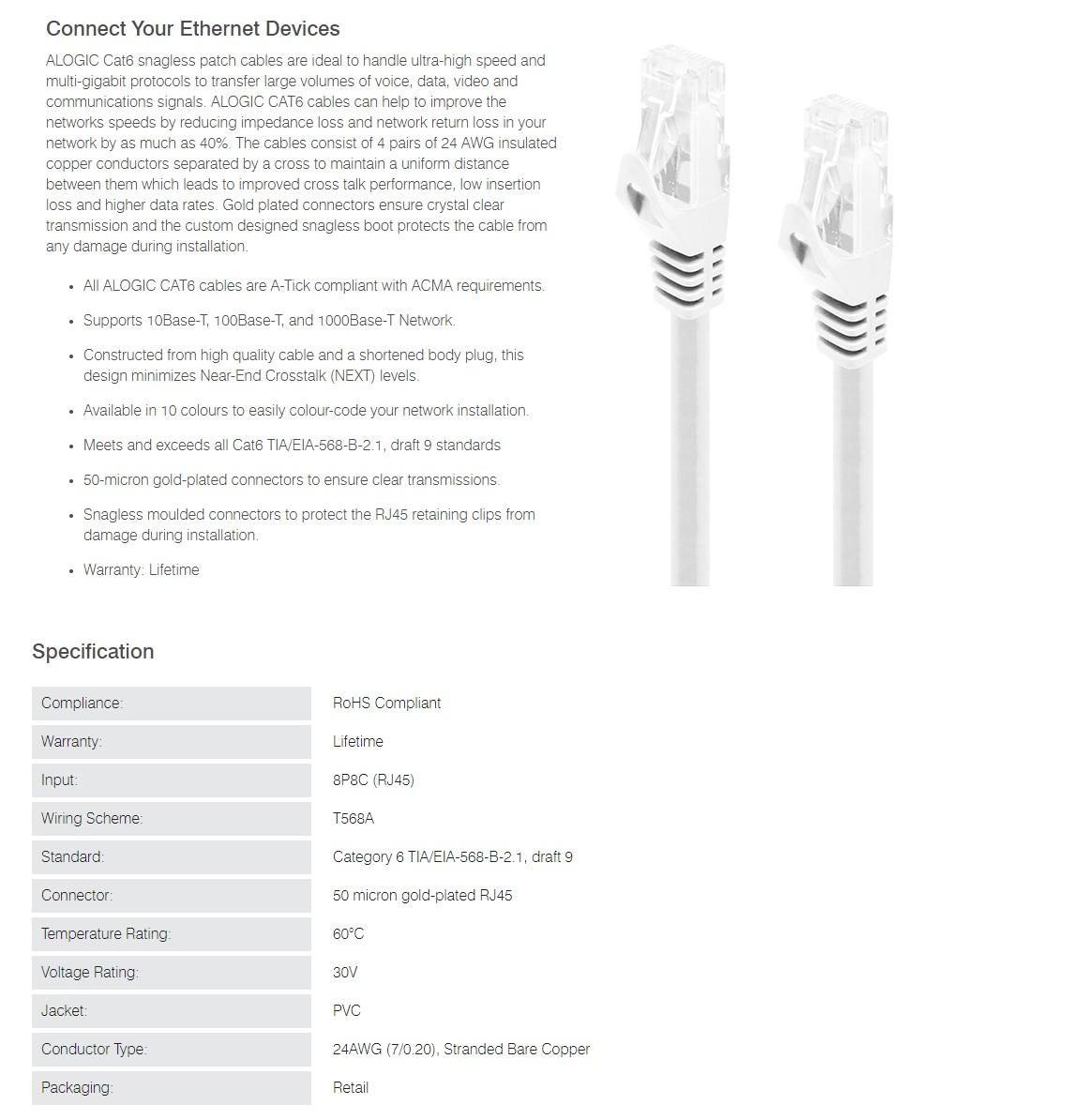Alogic 0.5m White CAT6 Network Cable 8P8C RJ45 PVC RoHS Snagless C6-0.5-White