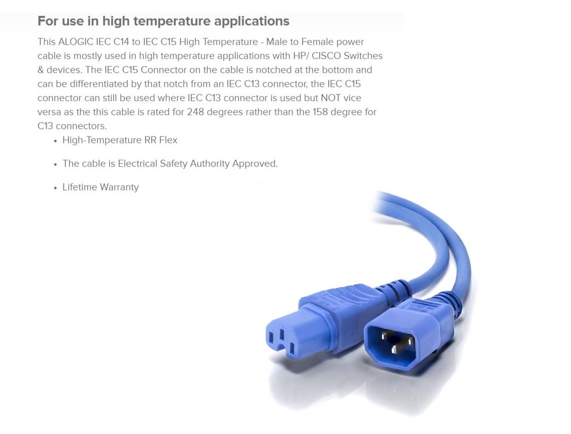 Alogic 1.5m IEC C14 to IEC C15 High Temperature RR Flex - Male to Female - Blue