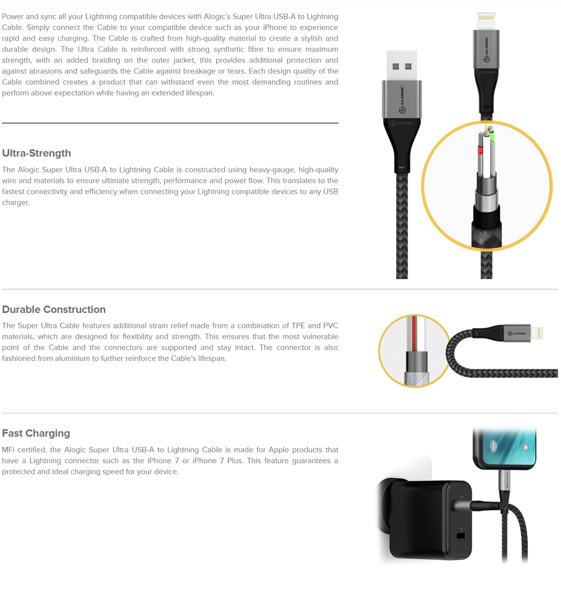 Alogic 1.5m Super Ultra USB-A to Lightning Cable MFI Certified Charging & Sync