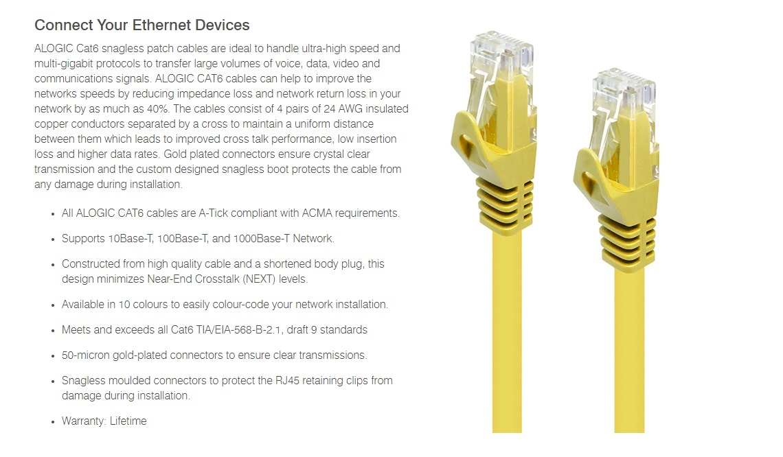 Alogic 7.5m Yellow CAT6 Network Cable 8P8C RJ45 PVC RoHS Snagless C6-7.5-Yellow