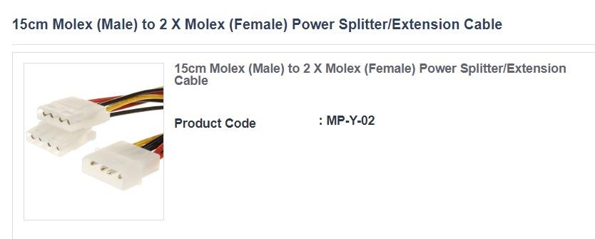 Alogic 15cm Molex (Male) to 2 X Molex (Female) Power Splitter/Extension Cable