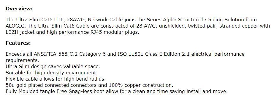 ALOGIC 3m Orange Ultra Slim Cat6 Network Cable - Series Alph