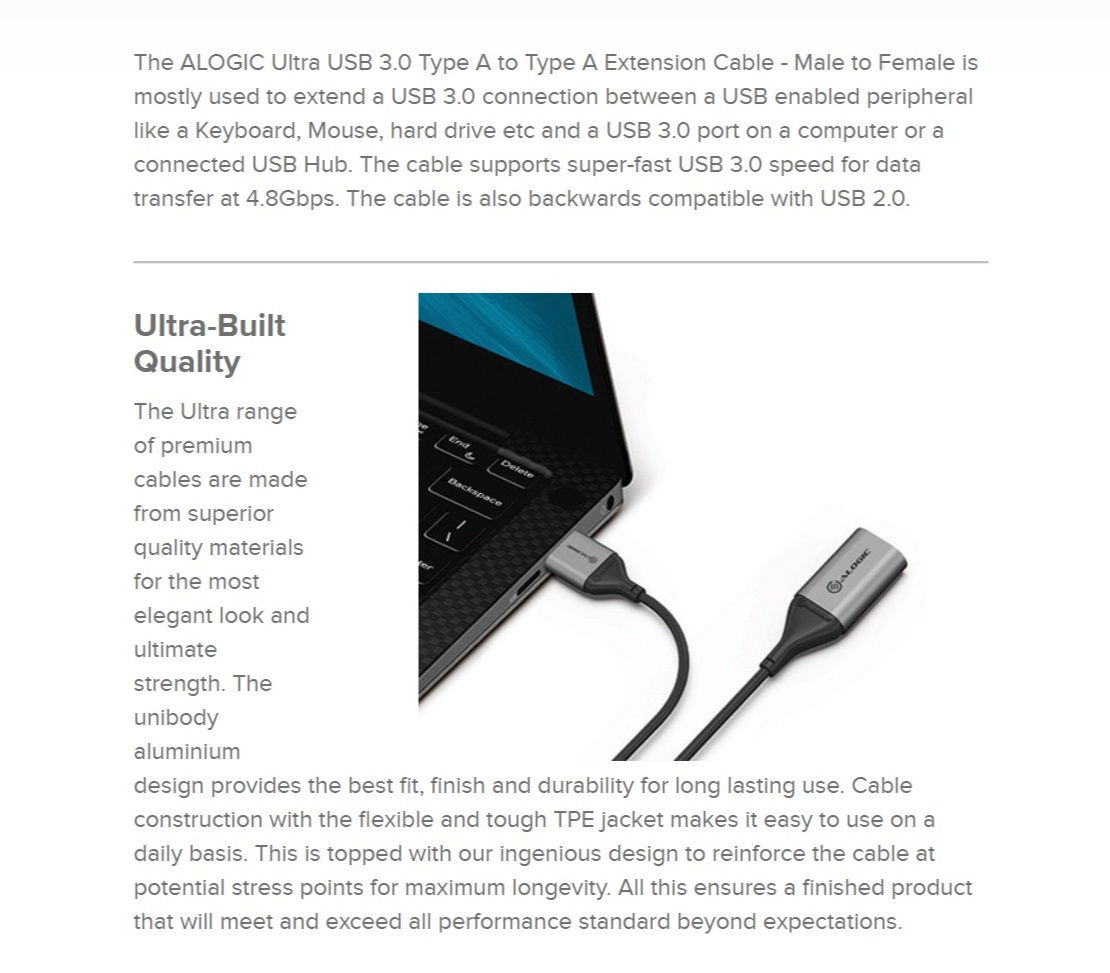 Alogic 2m Ultra USB3.0 USB-A (Male) to USB-A (Female) USB Type-A Extension Cable
