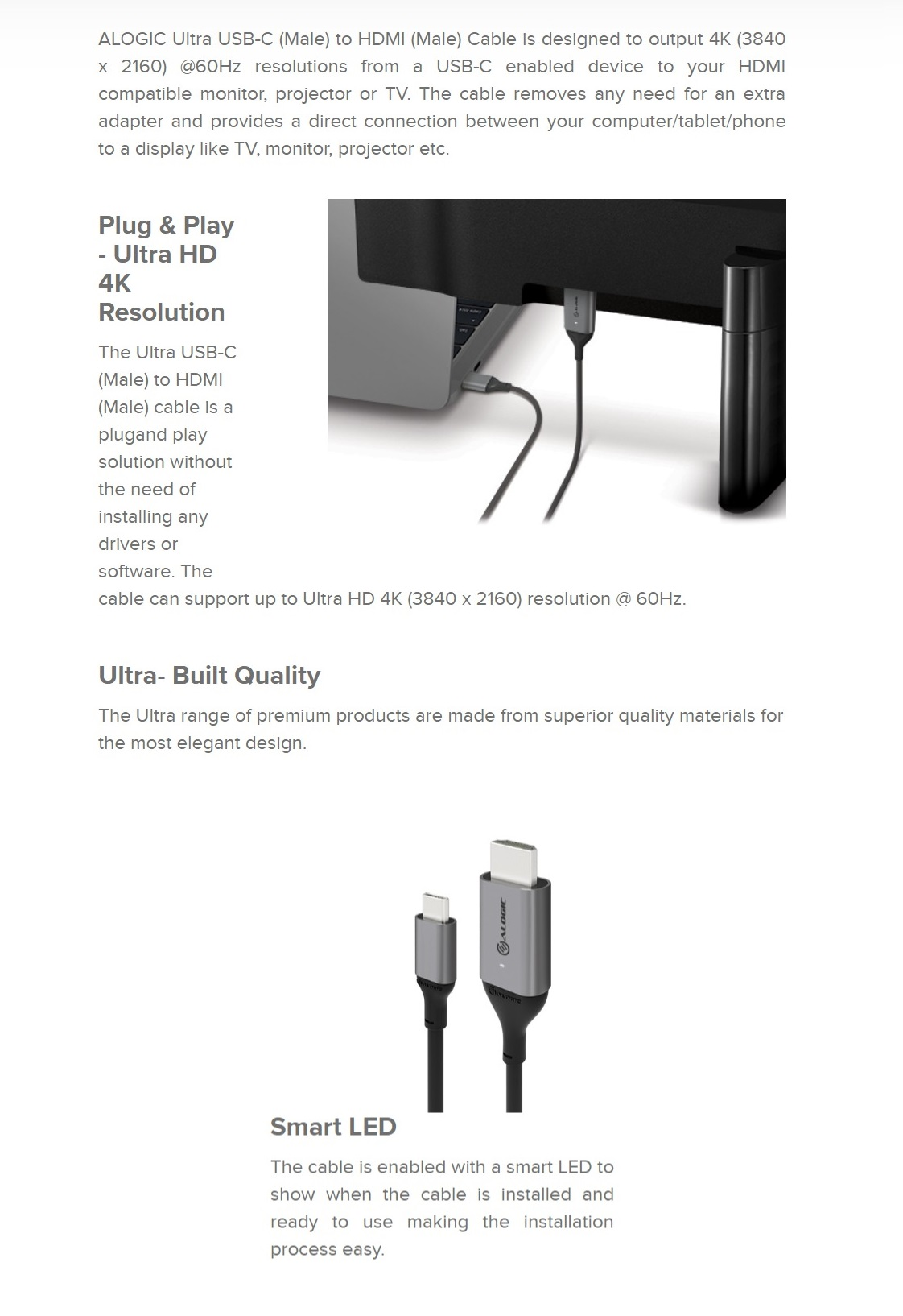 Alogic 2m Ultra USB-C (Male) to HDMI (Male) Cable - Up to 3840 x 2160 4K @60Hz