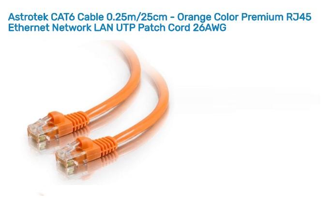 Astrotek 0.25m/25cm CAT6 Cable Orange Premium RJ45 Ethernet Network LAN UTP Cable