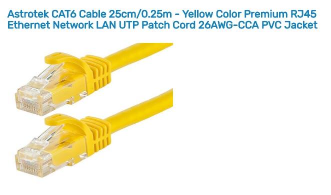Astrotek 0.25m/25cm CAT6 Cable Yellow Premium RJ45 Ethernet Network LAN UTP Cable