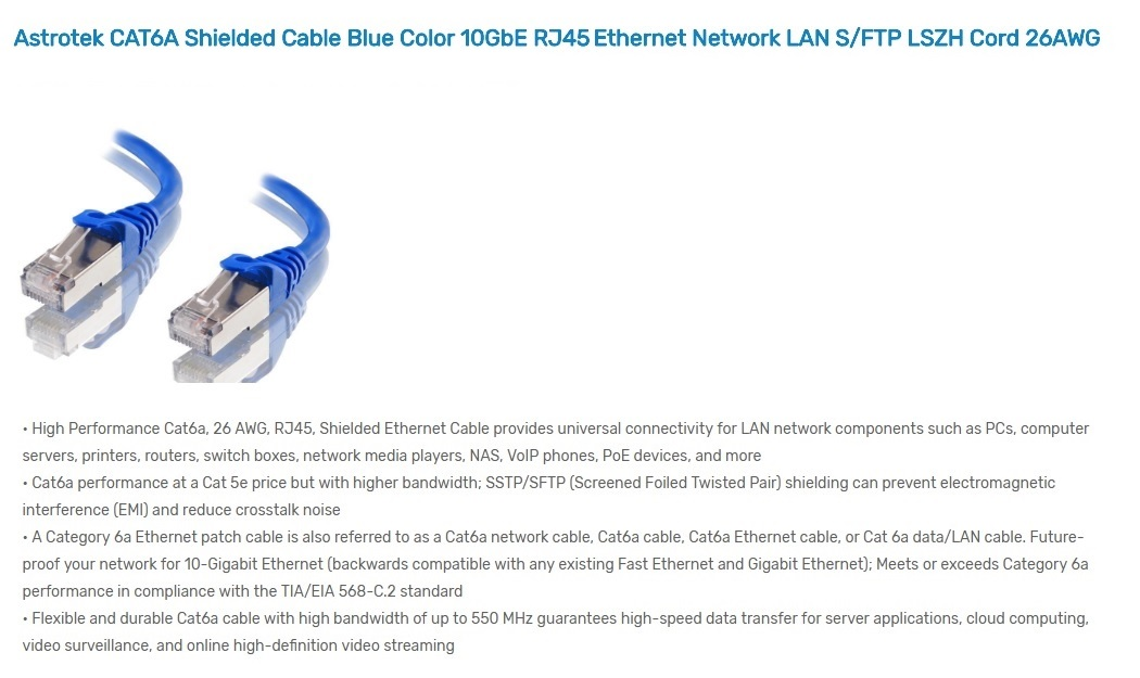 Astrotek 1m CAT6A Shielded Cable Blue 10GbE RJ45 Ethernet Network Cable