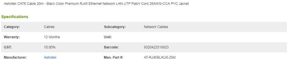 Astrotek CAT6 Cable 20m - Black Color Premium RJ45 Ethernet Network LAN