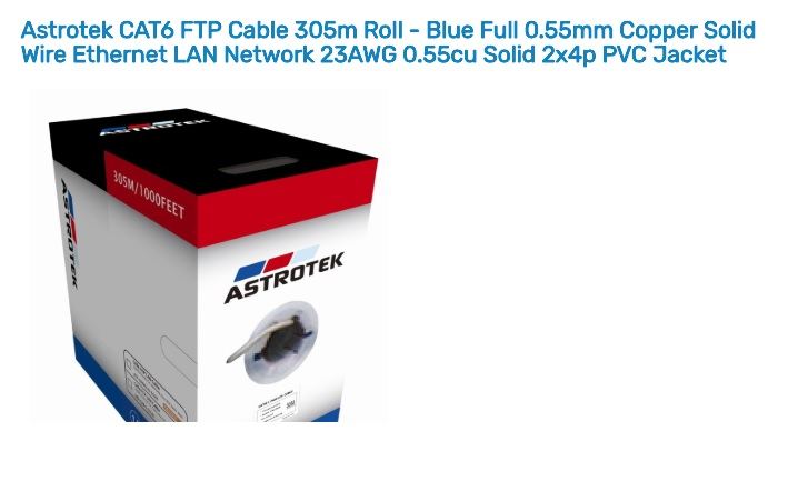 Astrotek 305m CAT6 FTP Cable Roll Blue Full 0.55mm Copper Solid Wire Ethernet LAN