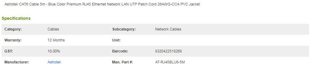 Astrotek CAT6 Cable 5m - Blue Color Premium RJ45 Ethernet Network LAN Cord