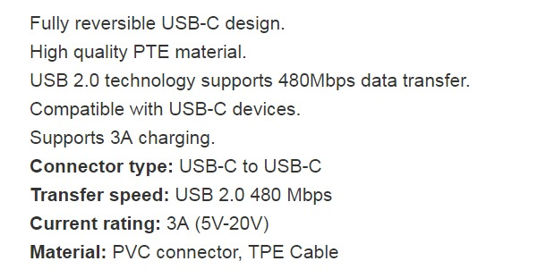 mbeat 2m Prime USB-C to USB-C Charge and Sync Cable Type-C to USB Type-C