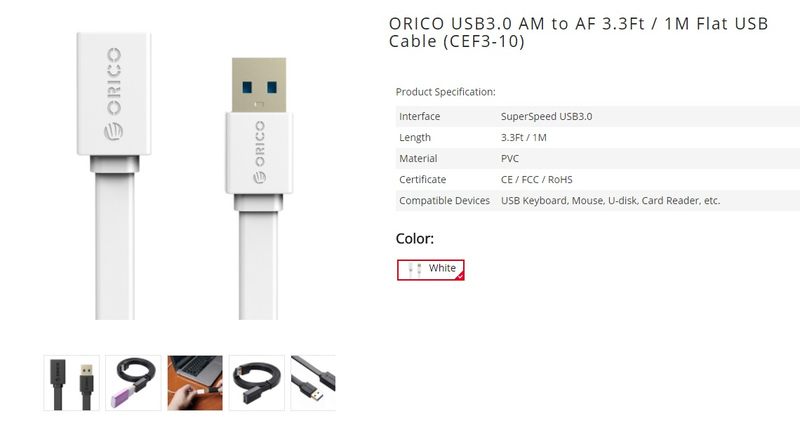 Orico CEF3-10 USB 3.0 Male to Female Extension Charging Data Cable White