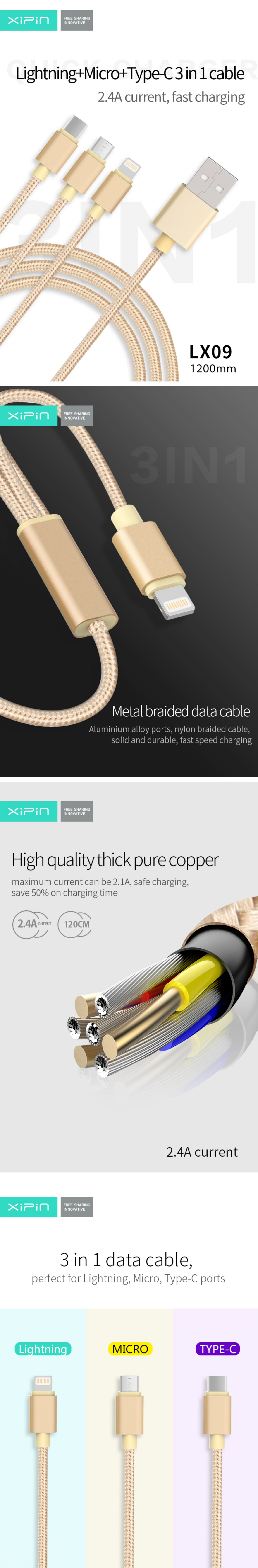 XiPin 1.2m USB to Micro USB, Lightning & USB-C 3 In 1 Cable 2.4A Nylon Braided Gold LX09