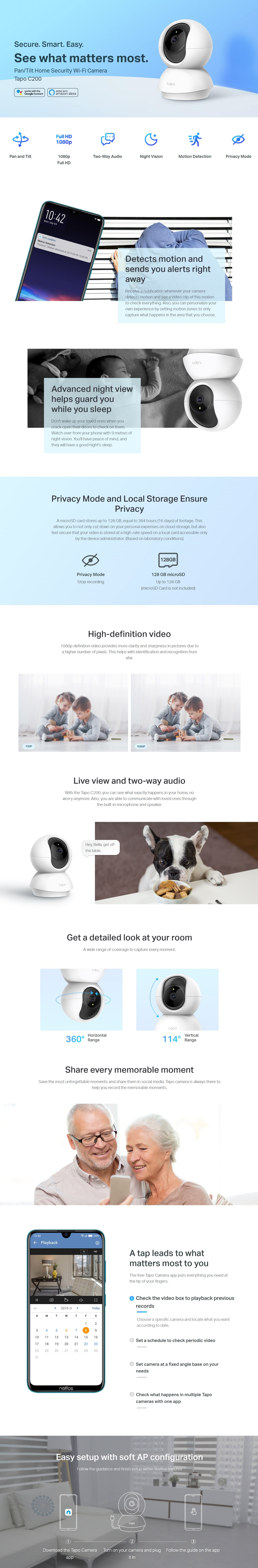 TP-Link 2-pack Tapo C200 Pan/Tilt 1080p Security Camera FHD Works Smart Home