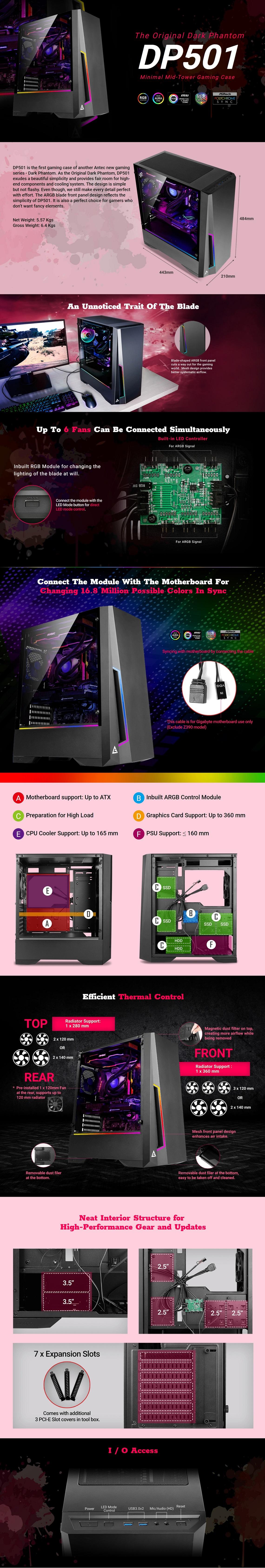 Antec DP501 Dark Phantom ATX ARGB Front LED Control Tempered Glass Gaming Case